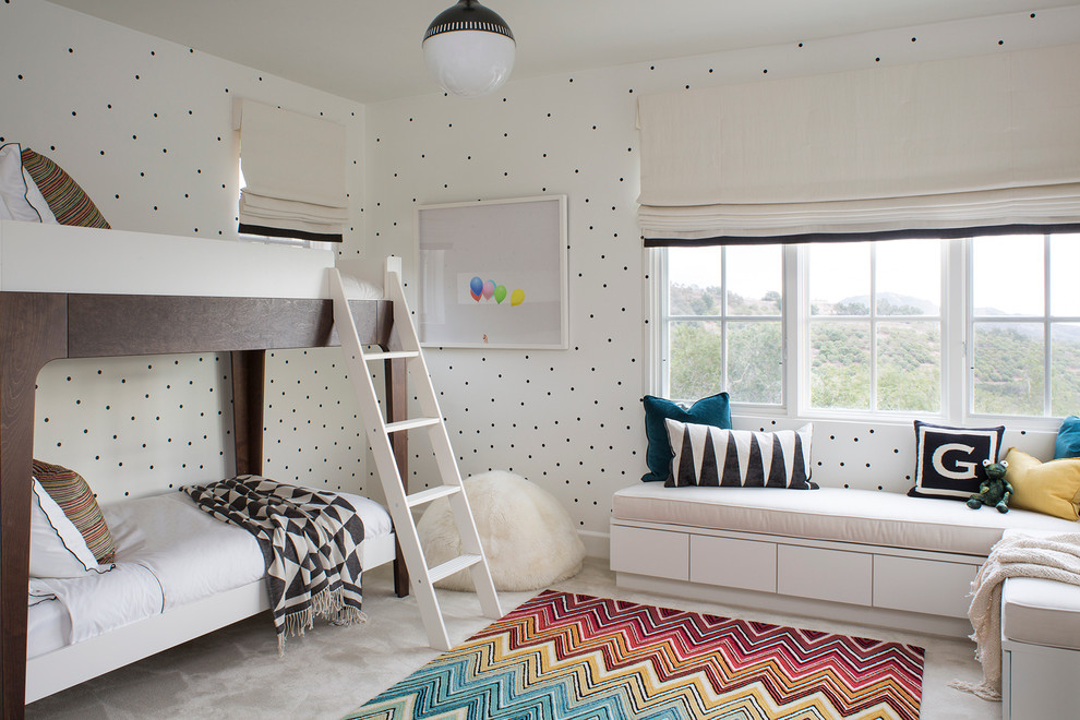 Kids' room - mid-sized contemporary girl carpeted kids' room idea in Santa Barbara with white walls