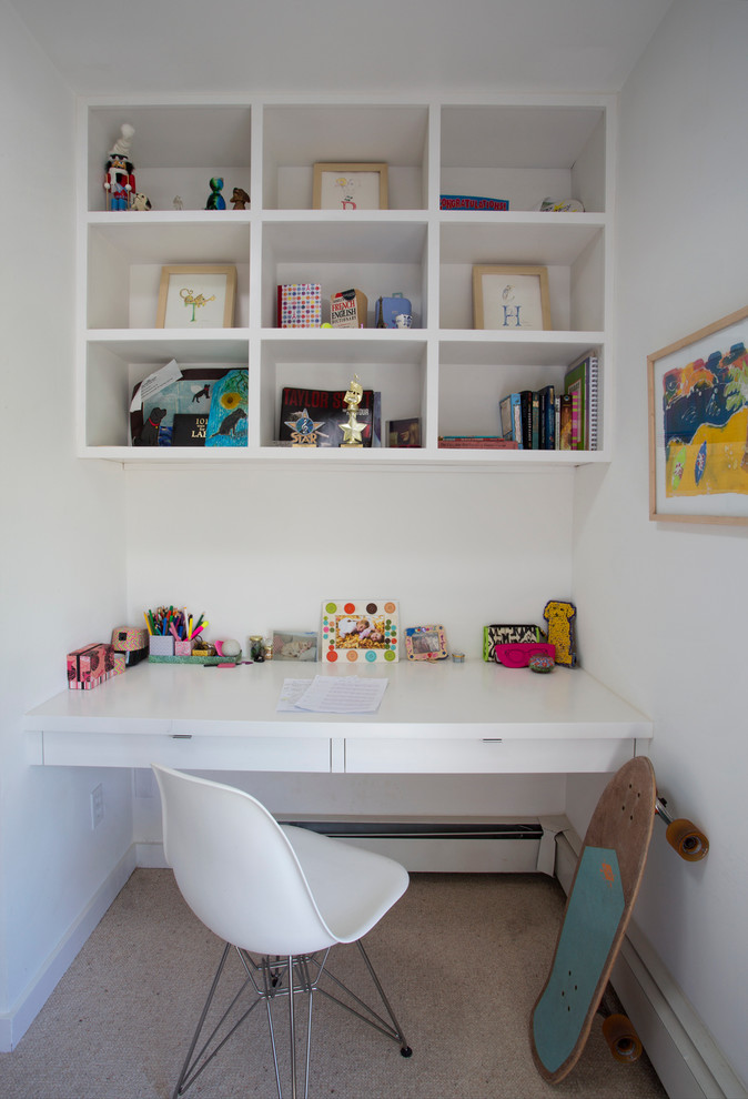 Kids' room - small contemporary kids' room idea in Albuquerque with white walls