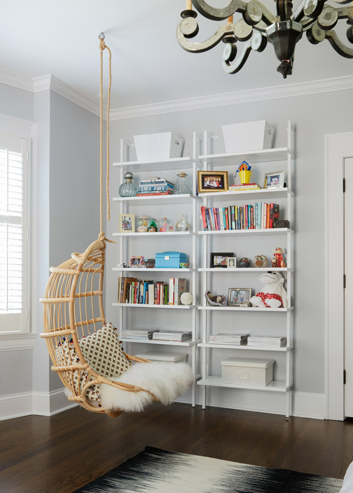 Transitional girl dark wood floor playroom photo in Chicago with gray walls