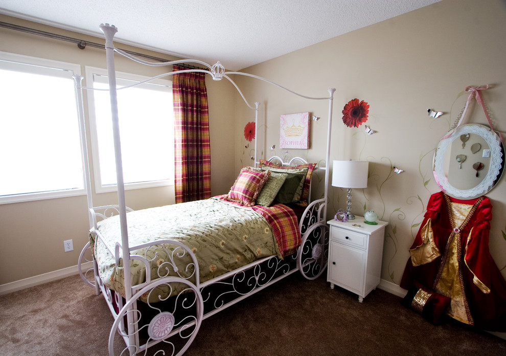 Eclectic girl carpeted kids' bedroom photo in Calgary with beige walls
