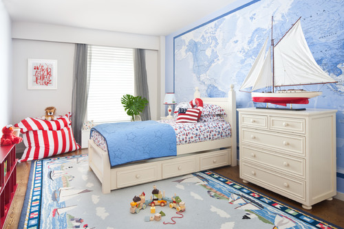 Blue room, red room, blue and red, room ideas, inspiration, room inspiration, kids room, teen room, map wall