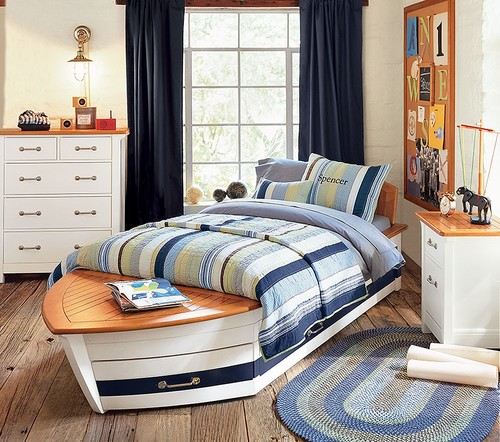 Speedboat bed- pottery barn kids eclectic kids