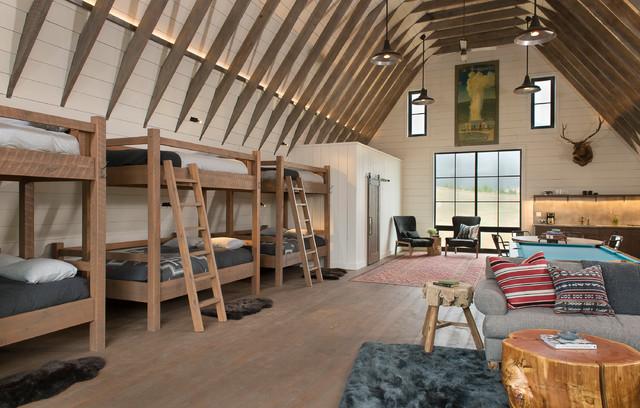 Kids' room - huge cottage gender-neutral dark wood floor kids' room idea in Other with white walls