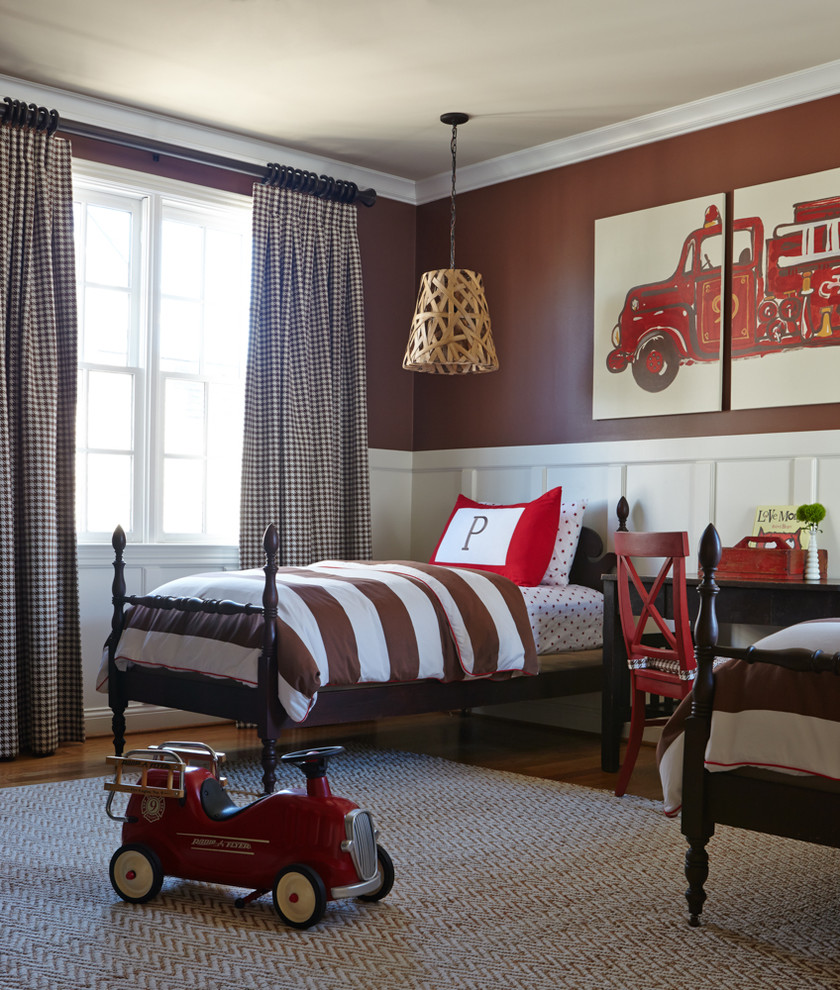 Inspiration for a timeless boy kids' bedroom remodel in Nashville with brown walls