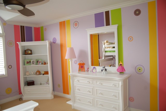Stencils,Stripes, Swarovski Crystals Child Bedroom and Bath traditional kids
