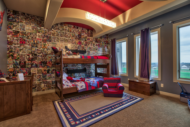 Mid Sized Transitional Boy Carpeted And Beige Floor Kidsu0027 Bedroom Idea In  Omaha With