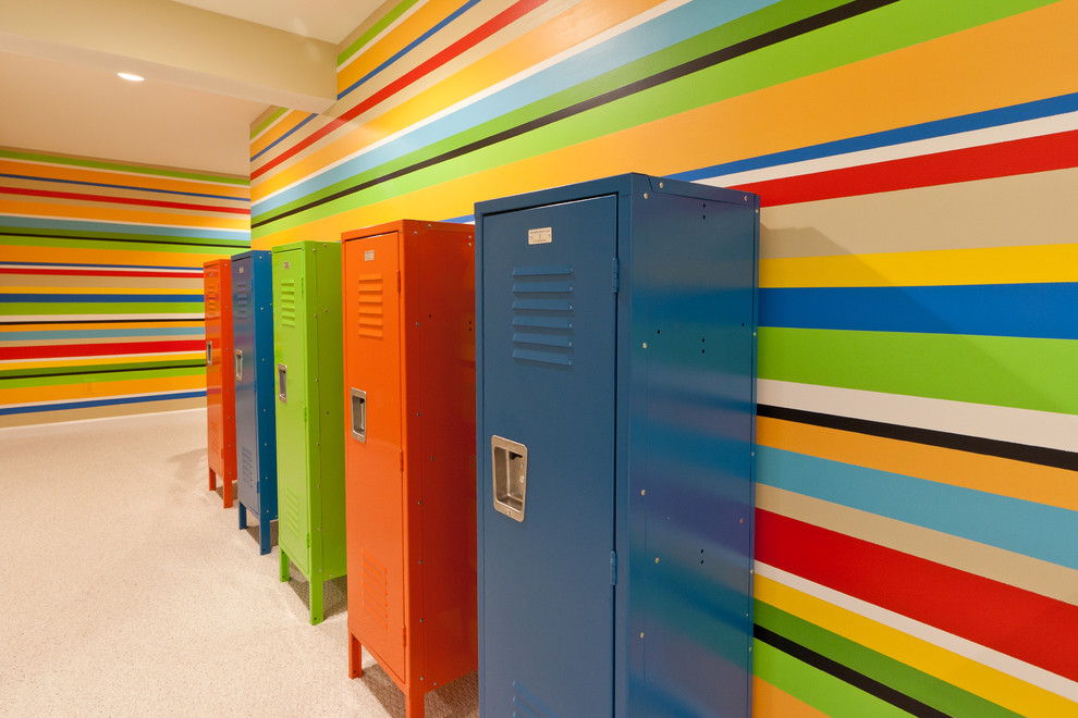 Inspiration for a huge contemporary gender-neutral carpeted playroom remodel in DC Metro with multicolored walls