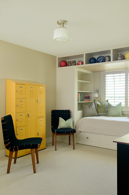 Kid's Bedroom with Built-In Bed transitional-kids