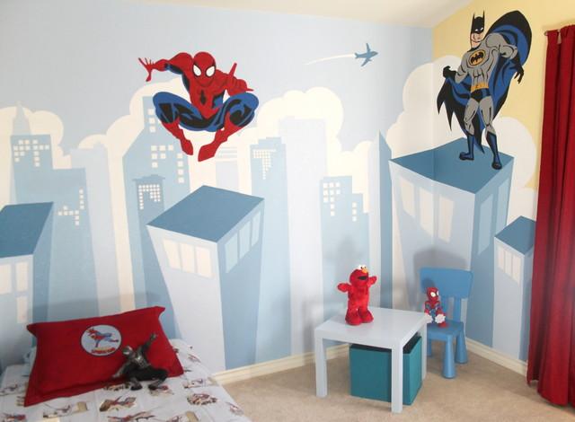 superheroes themed boy s bedroom contemporary kids san francisco