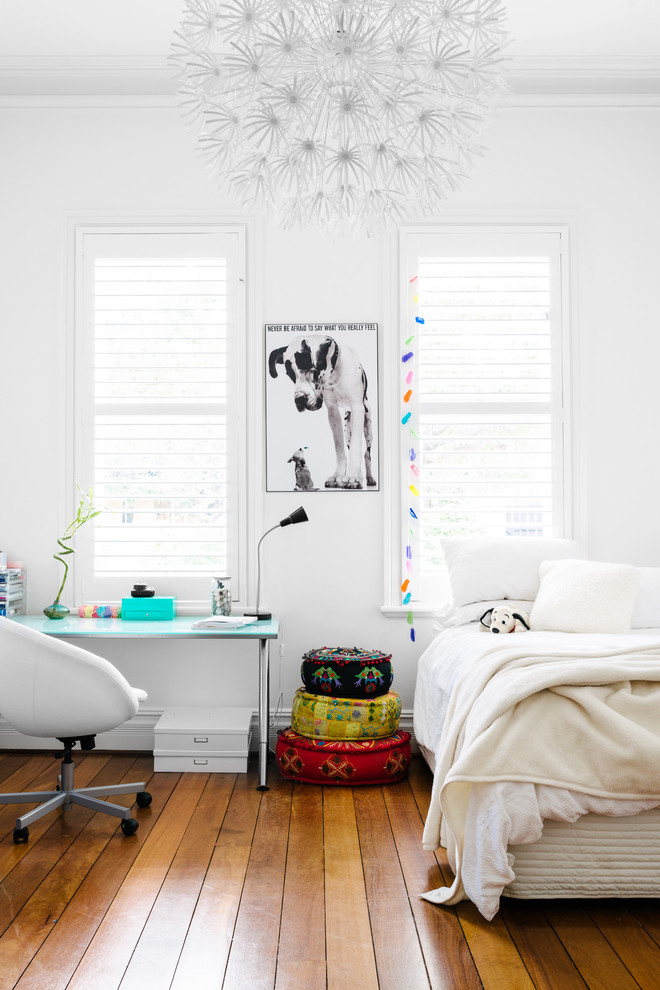Eclectic kids' bedroom photo in Perth with white walls