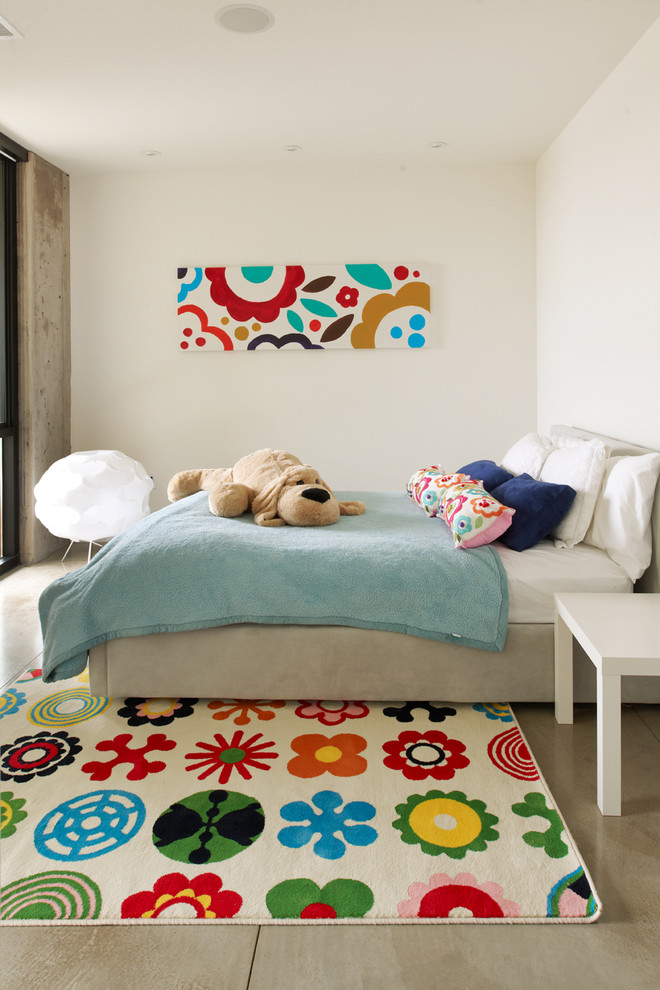 Minimalist girl concrete floor and gray floor kids' room photo in Minneapolis with white walls