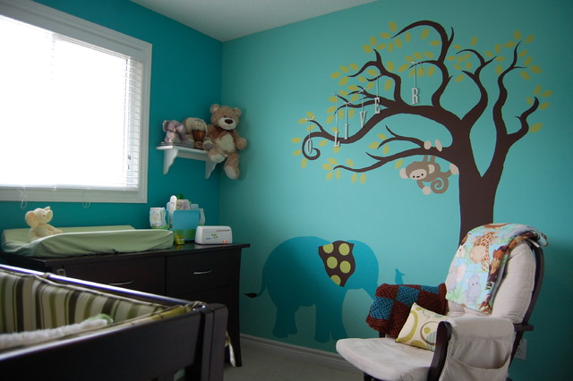 Teal Elephant Nursery contemporary kids