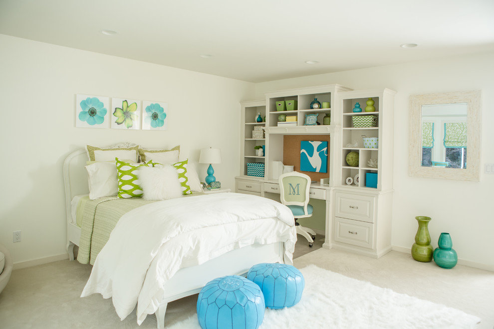 Example of a transitional girl carpeted kids' room design in New York with white walls