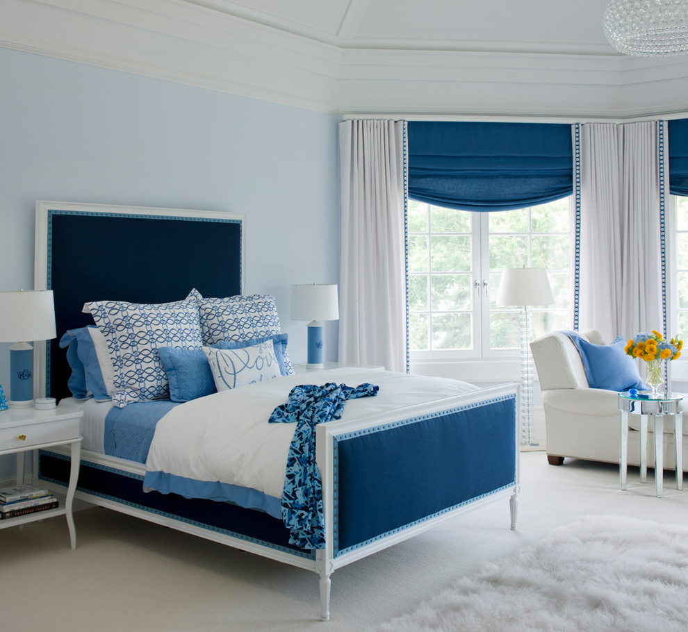 Elegant girl carpeted and beige floor kids' room photo in Miami with blue walls