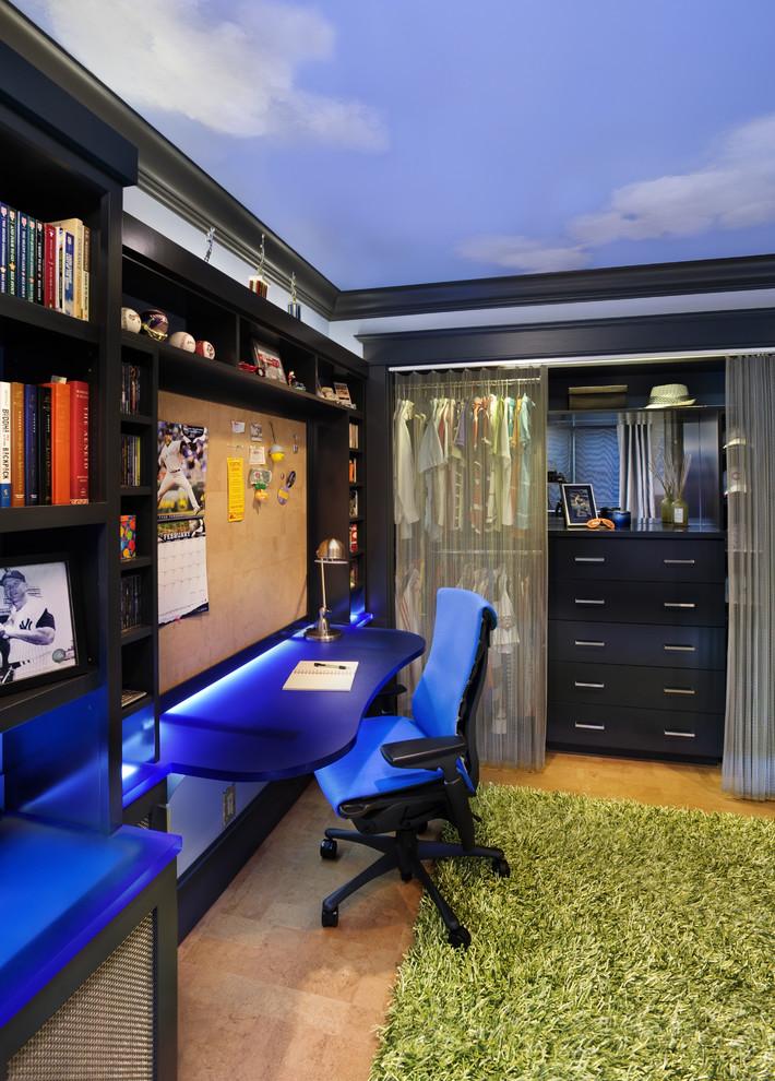 Example of a mid-sized trendy boy cork floor kids' room design in San Francisco