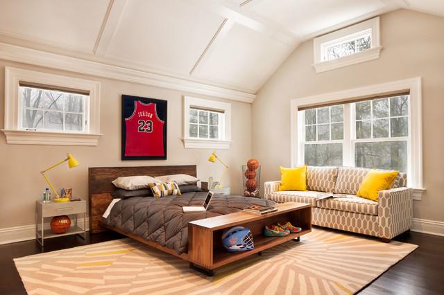 Mid Sized Traditional Boy Dark Wood Floor Kidsu0027 Room Idea In New York With