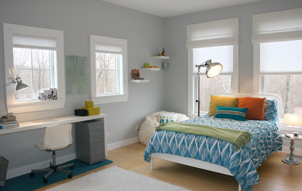 Inspiration for a transitional gender-neutral bamboo floor and beige floor kids' room remodel in New York with gray walls
