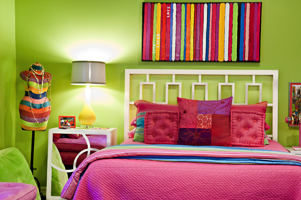 Eclectic girl kids' room photo in Dallas with green walls