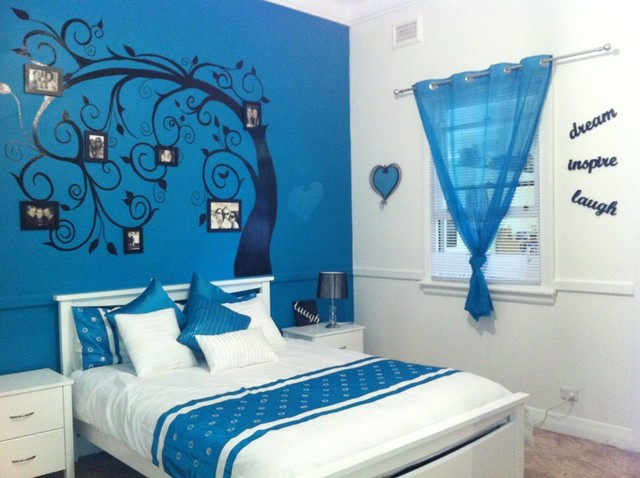 Teenagers bedroom traditional kids other metro by - Blue bedroom wallpaper ideas ...