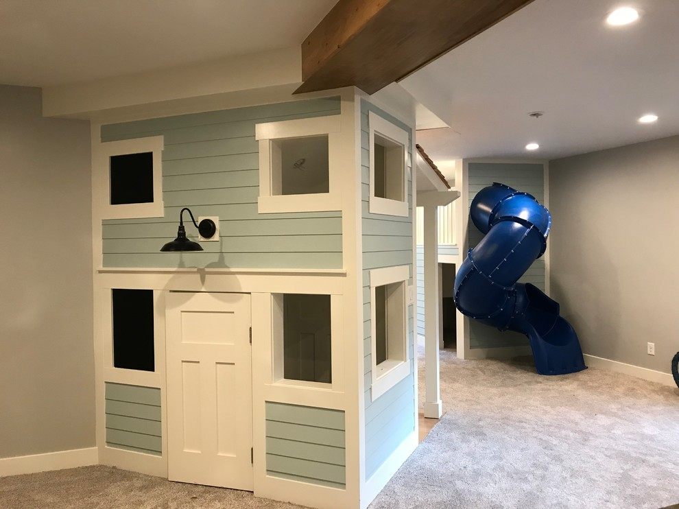 Inspiration for a mid-sized timeless gender-neutral carpeted and beige floor kids' room remodel in Salt Lake City with gray walls