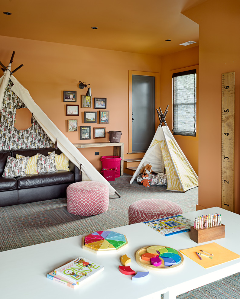 Mid-sized transitional gender-neutral carpeted and multicolored floor kids' room photo in Other with orange walls