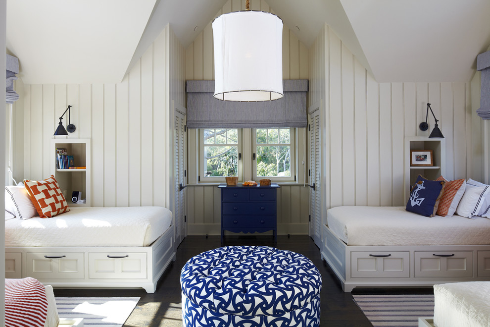 Inspiration for a coastal gender-neutral dark wood floor kids' room remodel in Charleston with white walls