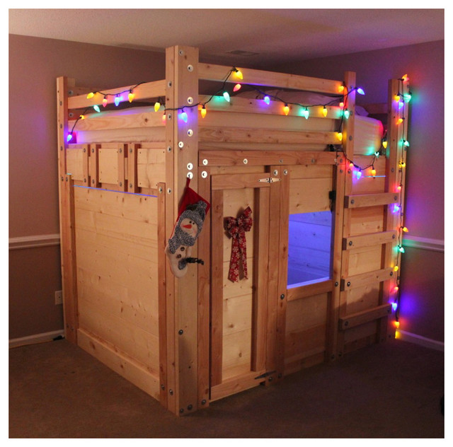 The Bed Fort - Built From Queen Loft Bed Plans - Traditional - Kids ...
