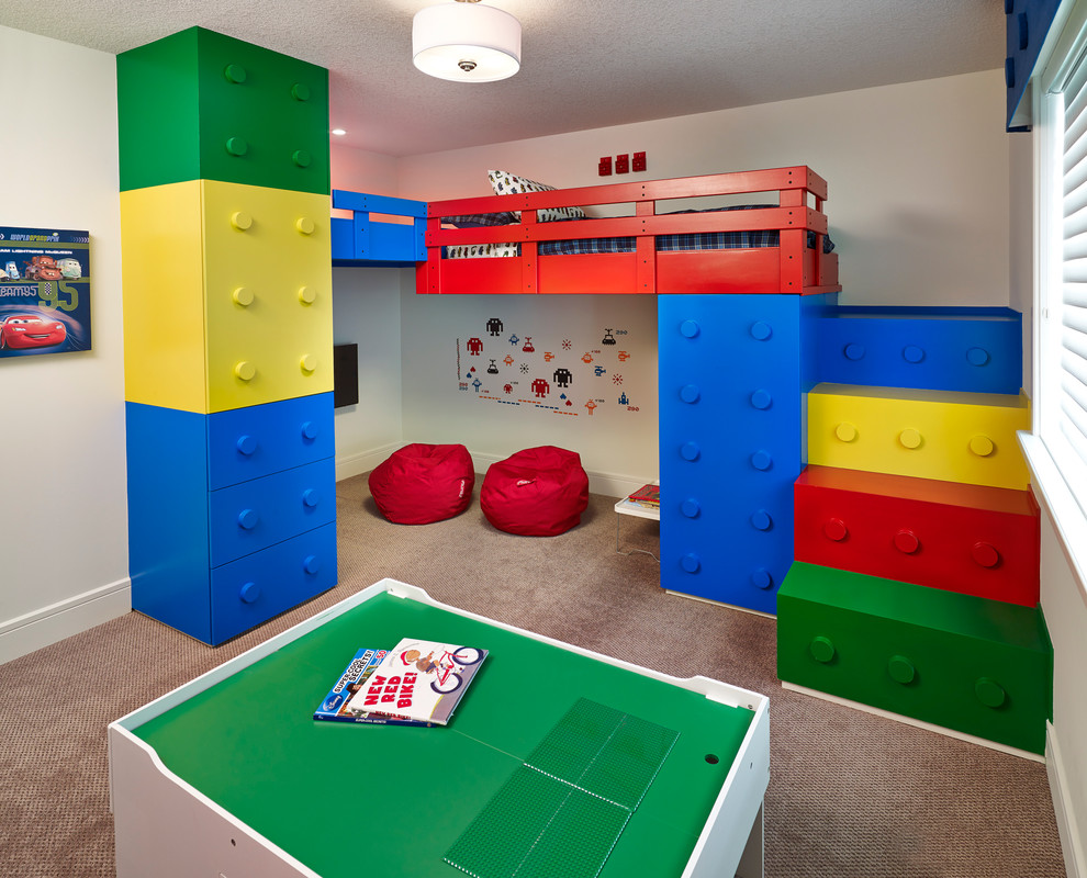 Trendy gender-neutral carpeted kids' room photo in Edmonton with white walls
