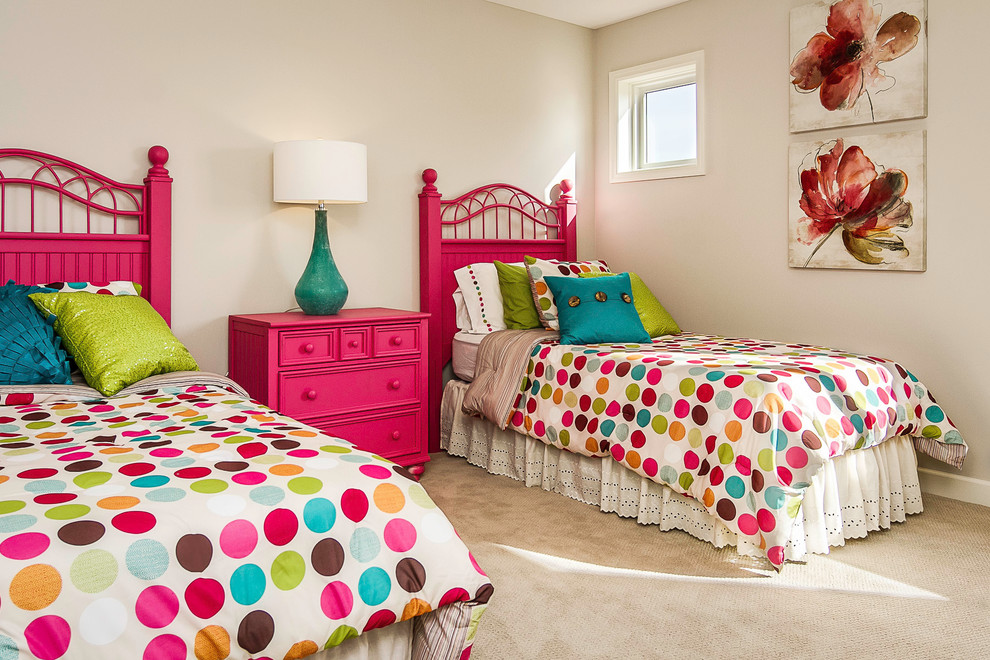 Kids' room - mid-sized transitional girl carpeted kids' room idea in Minneapolis with gray walls