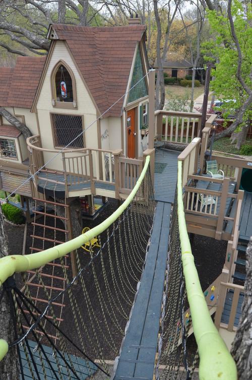 Tree house suspension bridge