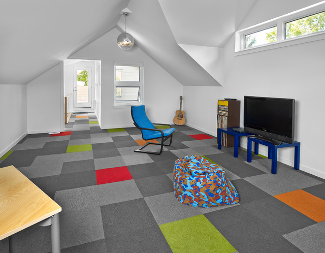 Playroom - large contemporary gender-neutral carpeted and multicolored floor playroom idea in Edmonton with white walls