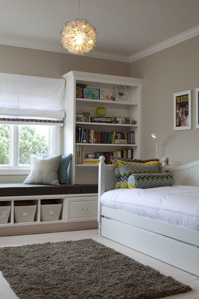 Kids' bedroom - transitional gender-neutral kids' bedroom idea in San Francisco with gray walls