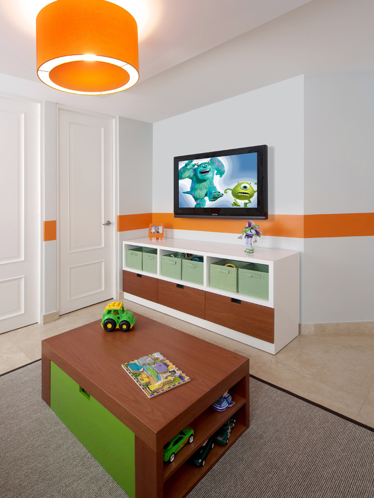 Example of a mid-sized trendy boy marble floor kids' room design in Other