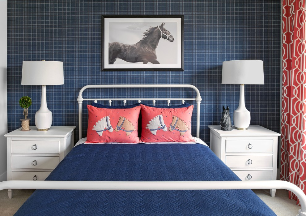 Example of a classic carpeted and gray floor kids' bedroom design in Orlando with blue walls