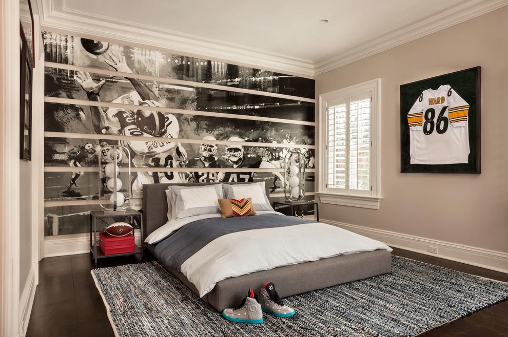 Mid-sized elegant boy dark wood floor kids' room photo in New York with multicolored walls