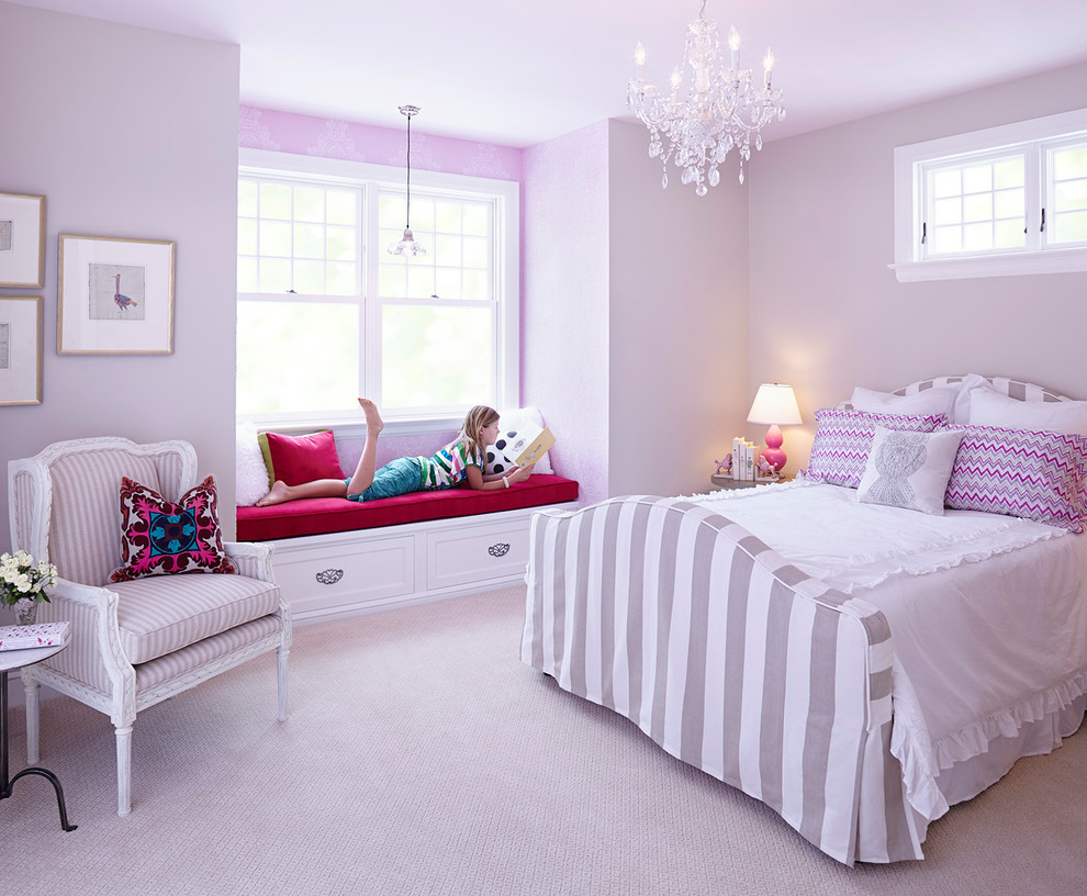 Kids' room - large traditional girl carpeted kids' room idea in Minneapolis with purple walls