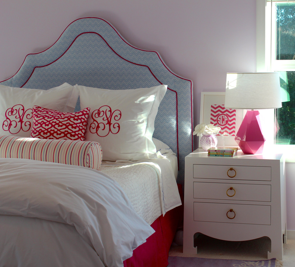 Mid-sized elegant girl carpeted kids' room photo in San Francisco with purple walls