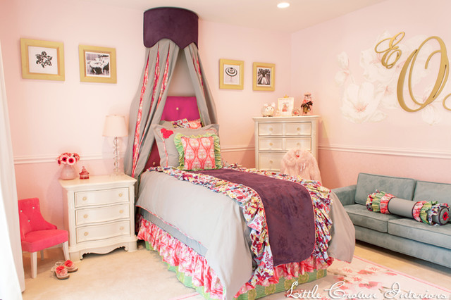 Pink and purple girl 39 s bedroom traditional kids orange county by little crown interiors - Purple and pink girls bedroom ...