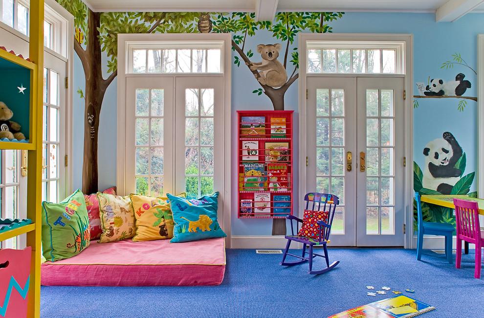 Elegant blue floor playroom photo in Boston with multicolored walls