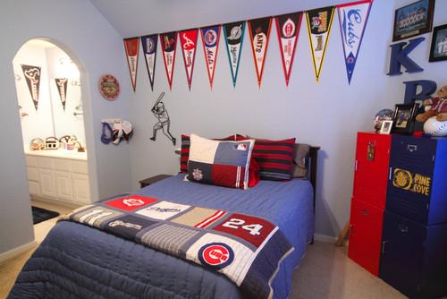 dormitorio decorado con tema de beisbol