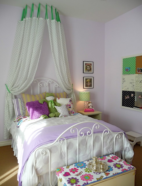 Canopy Bed in Girls room eclectic kids