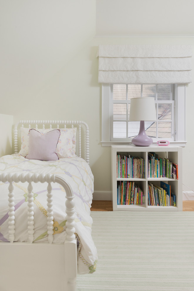 Kids' room - transitional kids' room idea in Boston with white walls