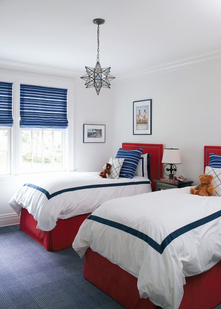 Kids' room - transitional gender-neutral carpeted and blue floor kids' room idea in Charlotte with white walls