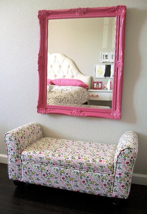 A Bright Pink Mirror Looks Lovely In This S Room It Acts An Accent Piece To The Gray White Wall And Enhances Y Style Of