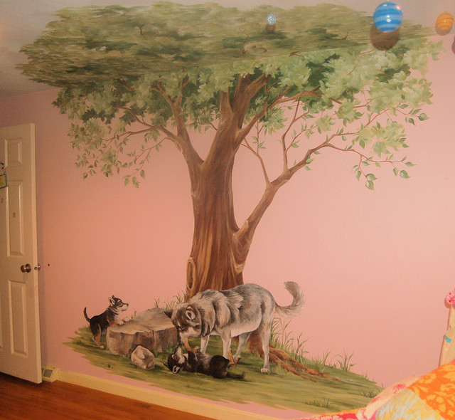 Tree mural with wolves traditional kids boston by for Children s room mural