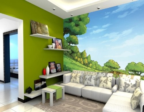 trees under blue sky kids room wall mural 7 feet 5 inch