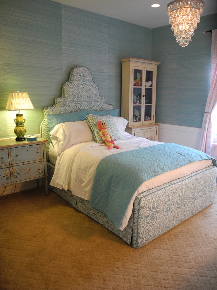 Elegant girl kids' room photo in Los Angeles with blue walls