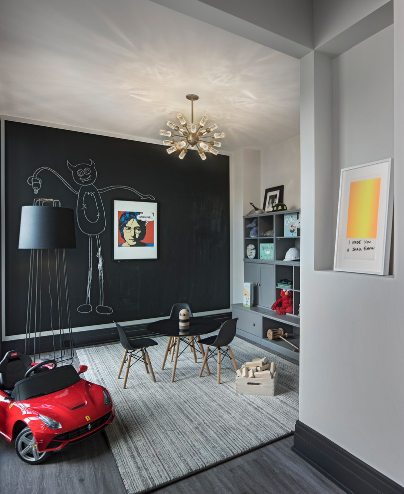 Inspiration for a transitional gray floor playroom remodel in Detroit with black walls
