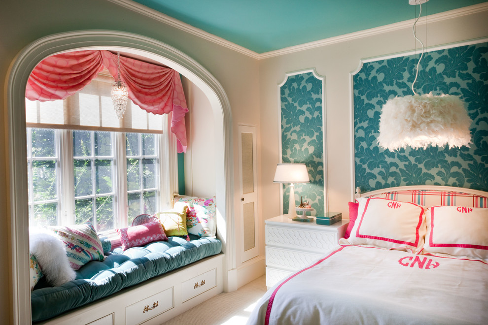Inspiration for a mid-sized timeless girl carpeted and beige floor kids' room remodel in DC Metro with multicolored walls