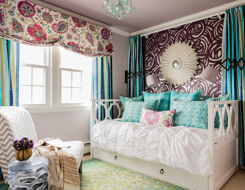 Kids' room - transitional girl carpeted kids' room idea in Boston with multicolored walls